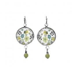 Boucles d'oreilles perlées sur le thème floral Edenham Green Liberty