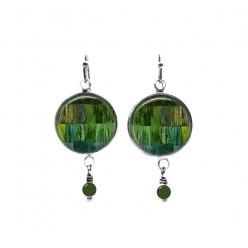 Boucles d'oreilles pendantes de perles sur le thème du patchwork de cordes vertes