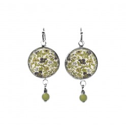 Liberty's Meadow green floral themed beaded dangle earrings