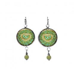 Beaded dangle earrings with a green Indian Kashmir style pattern