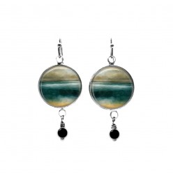 Beaded dangle earrings with an abstract landscape in teal and beige