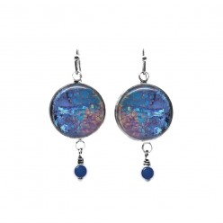 Barque turquoise and blue leaf themed beaded dangle earrings
