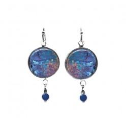 Boucles d'oreilles pendantes avec perles à thème minéral bleu et rose