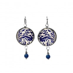 Beaded dangle earrings with a navy blue and white floral porcelain theme