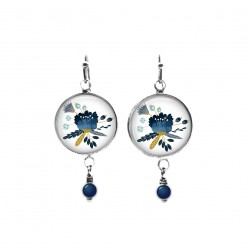 Beaded dangle earrings with blue floral damask theme
