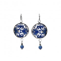 Blue and pink leaves themed beaded dangle earrings