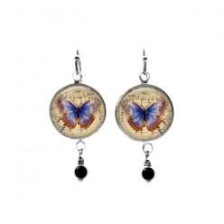 Beaded dangle earrings with a navy blue batik theme