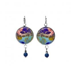 Boucles d'oreilles pendantes avec perles sur le thème des feuilles bleues et roses