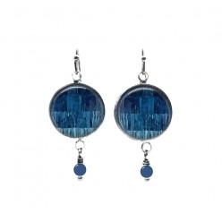 Blue strings patchwork themed beaded dangle earrings