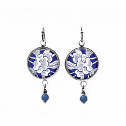 Beaded dangle earrings with a blue and white Japanese floral theme