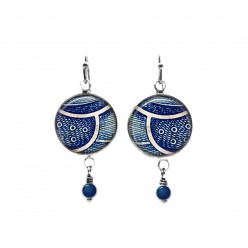 Navy blue abstract feather themed beaded dangle earrings