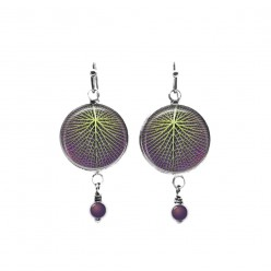 Giant lotus leaf themed beaded dangle earrings in purple and green