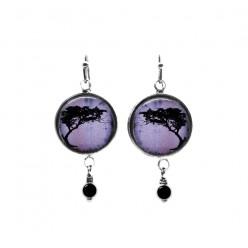 Boucles d'oreilles pendantes perlées arbre tortillis acacia violet