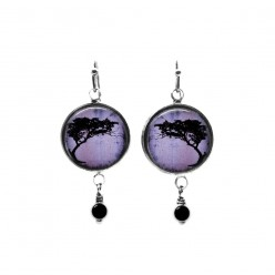 Purple acacia tortillis tree beaded dangle earrings