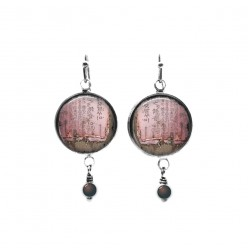 """Beaded dangle earrings with a pink and soft pink and taupe """"Kanji paper"""" theme"""