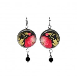 Fuchsia and black floral themed beaded dangle earrings