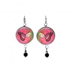 Hot pink butterfly on flower themed beaded dangle earrings