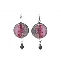 Boucles d'oreilles pendantes à thème minéral rose avec perles