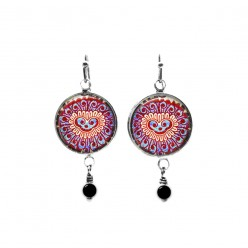 Beaded dangle earrings with a Indian pink kashmir style pattern