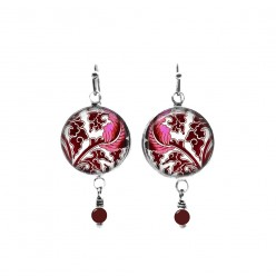Baroque hot pink and prune leaf themed beaded dangle earrings