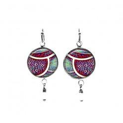Boucles d'oreilles perlées sur le thème de la feuille de pruneau et rose vif baroque