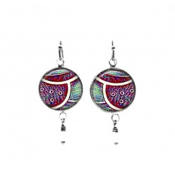 Fuchsia and green abstract feather themed beaded dangle earrings