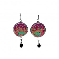 Beaded dangle earrings with a turquoise and Indian pink Chrysanthemum flower theme
