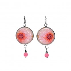 Pink abstract floral themed beaded dangle earrings