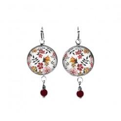 Boucles d'oreilles pendantes en perles sur le thème des fleurs roses et orange Liberty