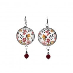 Liberty pink and orange flowers themed beaded dangle earrings