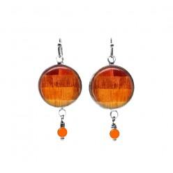 Boucles d'oreilles pendantes de perles sur le thème du patchwork de fils orange
