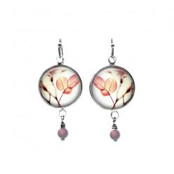 Pink leaves themed beaded dangle earrings