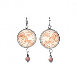 Beaded dangle earrings with a coral themed
