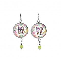 Beaded dangle earrings with a floral love theme