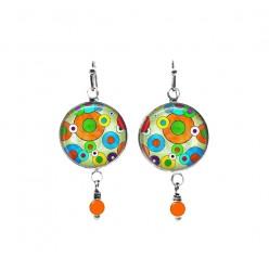 Boucles d'oreilles pendantes en perles à thème pop coloré
