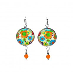 Colourful pop theme beaded dangle earrings
