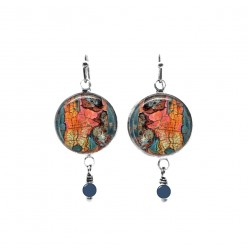 Beaded dangle earrings with a flaked paint theme in apricot and turquoise