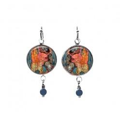 Boucles d'oreilles en perles avec un thème de peinture écaillée en abricot et turquoise