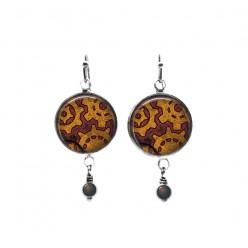 Boucles d'oreilles pendantes avec perles sur le thème des rouages steampunk coloris rouille et violet