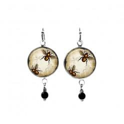 Vintage bumble bee themed beaded dangle earrings