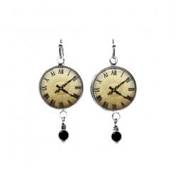 Boucles d'oreilles pendantes coloris laiton sur le thème de l'horloge