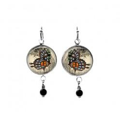 Cemerony butterfly themed beaded dangle earrings