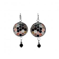 Honey-comb themed beaded dangle earrings in neutral colours