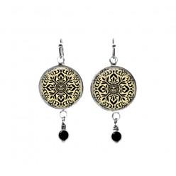 Beaded dangle earrings featuring a Japanese black and cream mandala theme