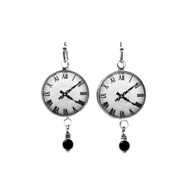 Black and white clock themed beaded dangle earrings