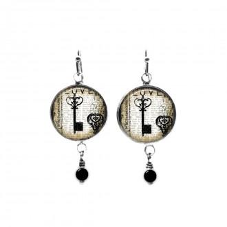Vintage key themed beaded dangle earrings