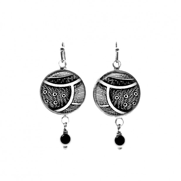 Black and white abstract feather themed beaded dangle earrings
