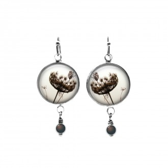 Sepia colour queen anne's lace themed beaded dangle earrings