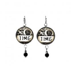 """Boucles d'oreilles pendantes ave perles : thème Steampunk """"Time"""""""