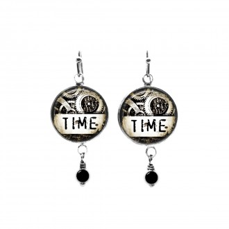 Time steampunk themed beaded dangle earrings